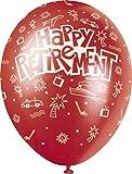Unique Party 80250 - Palloncini in Lattice di Colori Perlacei Assortiti da 30 cm con Scritta Happy Retirement, Confezione da 5