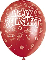 Idea Regalo - Unique Party 80250 - Palloncini in Lattice di Colori Perlacei Assortiti da 30 cm con Scritta Happy Retirement, Confezione da 5