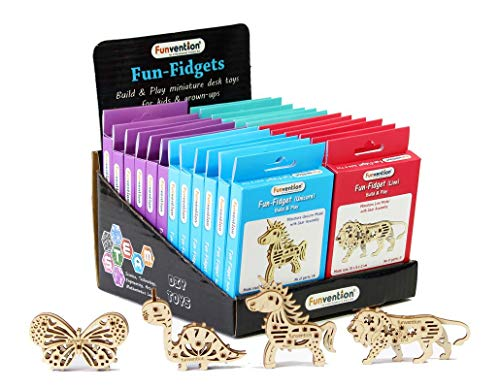 Funvention Fun Fidgets - Jungle - Pack of 24 (6 x 4 DIY Miniature Mechanical Models (Lion, Unicorn, Dino & Butterfly)) - STEM Learning Birthday Return Gifts