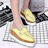 Qingchunhuangtang@ Fondo spesso scarpe High-Heeled ciabatte sandali ciabattine Piazza pedale Baotou,trentatré,Giallo Willow chiodo