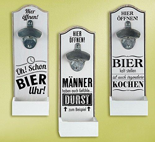 Wand - Bierflaschenöffner mit witzigem Spruch MDF 30x10cm Geschenk Dekoration (Oh! Schon Bier Uhr)