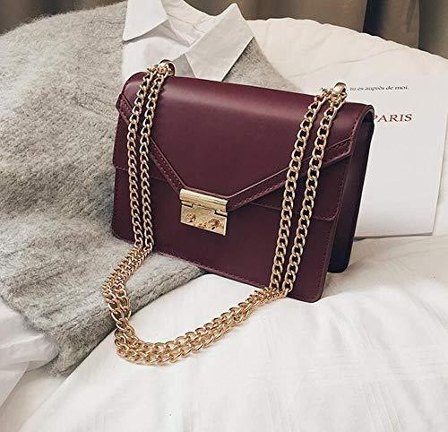 WCXA Handtasche Sweet Lady Square Tasche New PU Leder CandyHandtasche Lock Chain Schulter Messenger Bag, Burgund, 21 X 8 X 16 cm