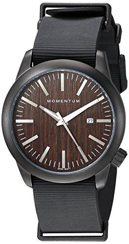 Momentum Men's Quartz Stainless Steel and Rubber Dress Watch, Color:Black (Model: 1M-SP14C11B)