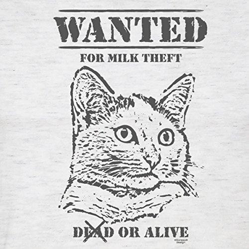 Geschenk für Katzenfreunde :-: Motiv T-Shirt Katzen :-: Wanted :-: Geschenkidee für Tier-Freunde zum Geburtstag Vatertag Weihnachten :-: Farbe: grau Grau