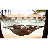 Inditradition Double Cotton Rope Hammock   with Spreader Wood Bar, 40 Inches Wide (White)