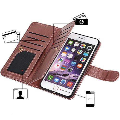 """iPhone 6 plus (5.5"""")Hülle wallet case,xhorizon TM FM8 2 in 1 Premium Leder [Brieftasche Funktion] [Magnetisch Abnehmbar] Wristlet Geldbörse Mehrfache Karten-Schlitze Abdeckung Folio Schutzhüller für i Rose Gold"""