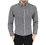 Luckycat Herren Suit Fit Langarm Button Gestreiften Daunen Hemden Tops Bluse Mode 2018