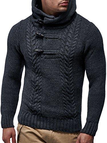 LEIF NELSON Herren Hoodie Kapuzenpullover Strickpullover mit Kapuze Longsleeve Sweater Sweatshirt Langarm Pulli Strick LN20231N; Größe S, Anthrazit