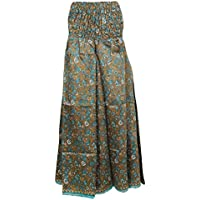 Mogul Interior Womens Divided Skirt Red/Green Vintage Silk Sari Smocked Waist Maxi Skirts