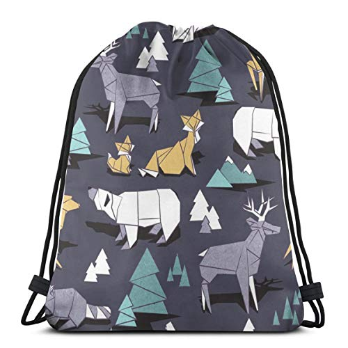 1f656acc423fb beautiful  Origami Woodland III Dark Violet Background Yellow Teal White  and Violet Animals 13009 3D Print Drawstring