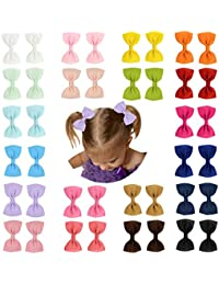 7e3c9125db1 Prohouse 40 PCS 3 inches Baby Girls Ribbon Hair Bow Clips Barrettes For Girl  Teens Kids