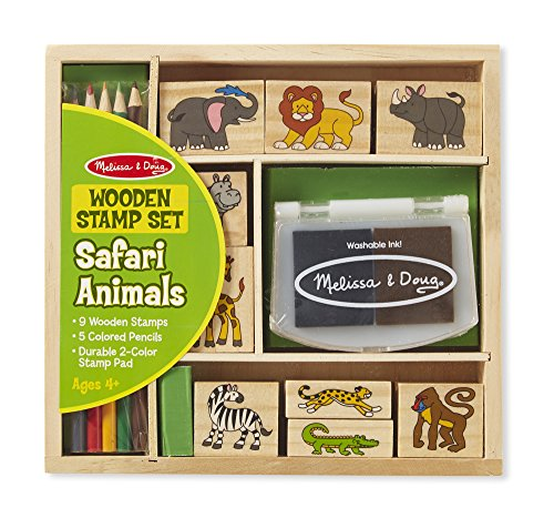 Melissa & Doug Safari Animals Wooden Stamp Set, Multi Color