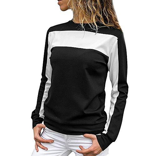 TianWlio Langarm Bluse Damen Frauen Mode Lässige Mode Lose Colorblock Pullover Langärmeliges Rundhals Sweatshirt Bluse -