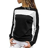 TianWlio Langarm Bluse Damen Frauen Mode Lässige Mode Lose Colorblock Pullover Langärmeliges Rundhals Sweatshirt Bluse