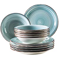 Domestic by Mäser Serie Bel Tempo, Vajilla 12Piezas, para 6Personas, Porcelana, 30x 40x 40cm, 12Unidades, Porcelana, Azul Claro, 30 x 40 x 40 cm