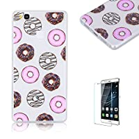 For Huawei P9 Lite Case [with Free Screen Protector], Funyye Fashion lovely Lightweight Ultra Slim Anti Scratch Transparent Soft Gel Silicone TPU Bumper Protective Case Cover Shell for Huawei P9 Lite-Doughnut