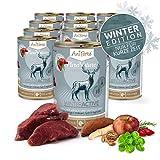 AniForte Natürliches Nassfutter WinterActive für Hunde, Frischer Hirsch und Rind, getreidefrei, glutenfrei, Futter mit 87% Fleisch, Hundefutter für alle Hunderassen, Ohne künstliche Zusätze - 12x 400g