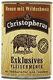 Christopherus Alleinfutter für Hunde, Nassfutter, Gluten- und getreidefrei, Wildschwein/ Süßkartoffel/ Cranberry, Exklusives Fleischmenü 400 g