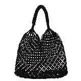 YOUJIAA Casual Stroh Handtasche für Damen Vintage Einfarbig Netz Tasche Shopper Sommer Strand...