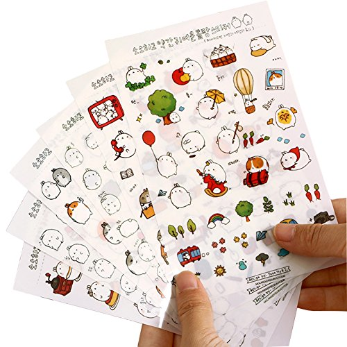 fablcrew Kaninchen Aufkleber Lovely Decor niedliche Kinder DIY Scrapbooking Schedule Diary Foto 6Stück (Aufkleber Koreanische)