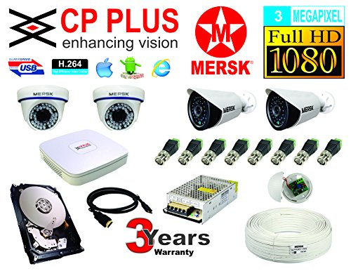 CP Plus 4 Ch HD Dvr and Mersk Full HD (3MP) CCTV Camera Kit with (All Required Accessories) Note : No Installation Service