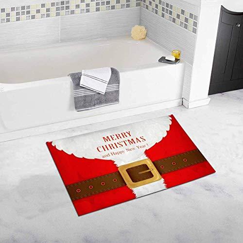 LIS HOME Lustige Bart und Santa Anzug mit Gürtel Frohe Weihnachten Dekor rutschfeste Bad Teppich saugfähige Duschmatte Badematten für die Badewanne