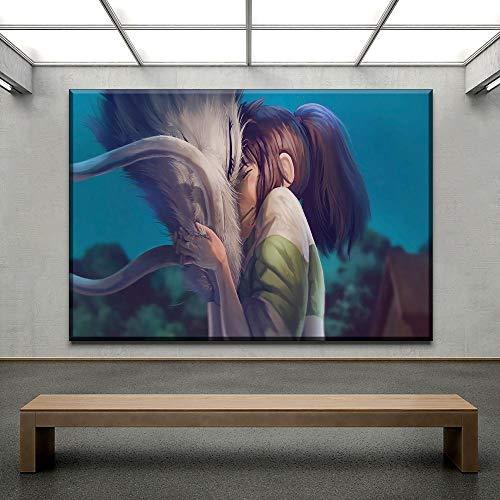 Chihie Wandkunst Leinwand HD Print Poster Wohnkultur Zimmer Bilder Chihiro Haku Cartoon Spirited Away Painting 60cm x90cm Kein Rahmen