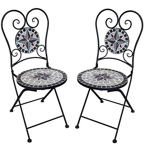 Mosaik Bistro Stuhl (dszapaci Gartenstuhl Mosaik Klappstuhl Balkon Set Mosaik Bistrostuhl Metall Gartenmöbel Dekostuhl Garten Bistro Stuhl)