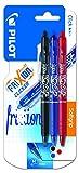 Pilot FriXion Clicker - Bolígrafo roller de gel de tinta borrable (3 unidades), color negro,...