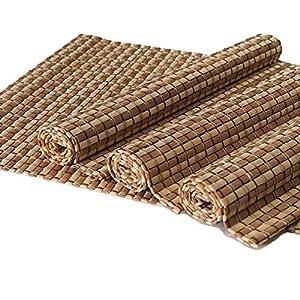 4er Set Bambus Tischsets, Platzsets, Handgefertigt Platzdeckchen, umweltfreundlich für Dekoration und Schutz, 40x30cm, natürliche und dunkle Farbe