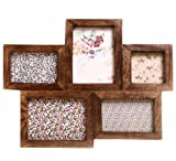 5 Picture Large Multi Wooden Photo frame - Retro dark wood