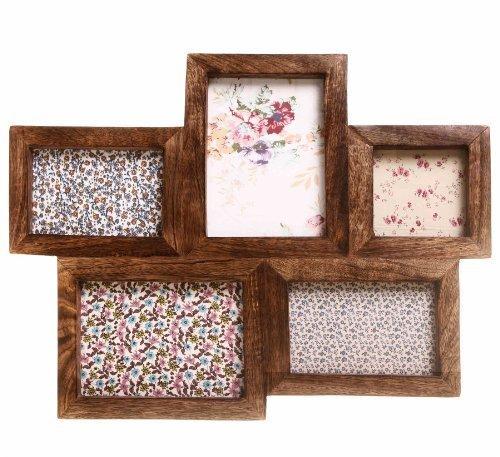 Cornice per foto di legno a gruppo di 5 immagini, con cornici di legno (Immagine Gruppo)
