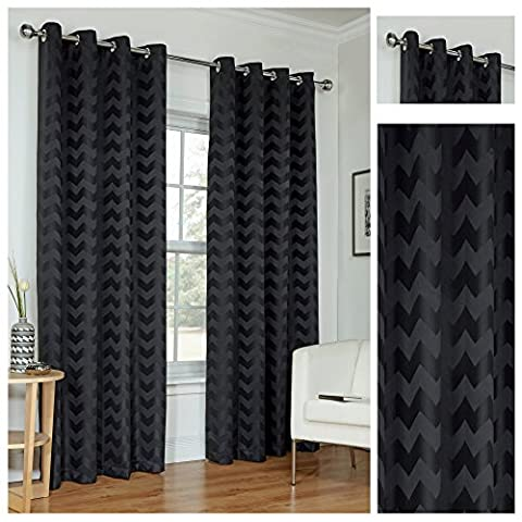 Zig Zag Black Ring Top / Eyelet Fully Lined Readymade Curtain Pair 66x90in(167x228cm) Approximately By Hamilton McBride®