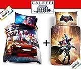 Caleffi DUE parure copripiumino CARS Neon e BATMAN & SUPERMAN
