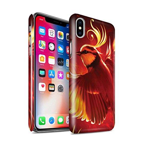 Officiel Elena Dudina Coque / Clipser Brillant Etui pour Apple iPhone X/10 / Oiseaux Libres/Vitrail Design / Les Oiseaux Collection Oiseau de Feu/Enfer