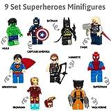 Golden Heros , Lot de 9 Minifigures des Superheros des Bandes dessinées Marvel et DC Comics avec Leurs Outils et Costumes/ Batman, Thor, Hulk, Captain America et Beaucoup d'autre.
