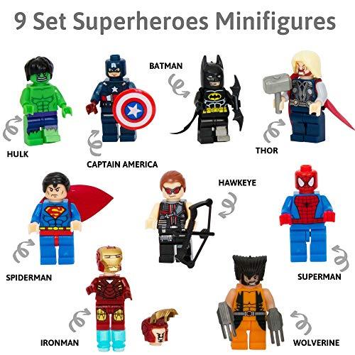 Golden Heros, Lot von 9 Minifiguren der Superhelden von Marvel Comics und DC Comics mit ihren Werkzeugen und Kostümen / Batman, Thor, Hulk, Captain America und viele andere.