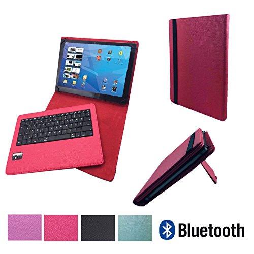 Bluetooth Tastatur Case für MEDION LIFETAB X10607 MD 60658 Tablet Hülle Keyboard - Bluetooth Tastatur Pink 10.1 Zoll