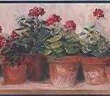 Rot Blumen in Töpfen auf Bench beige floral Tapete Bordüre Retro Design, Rolle 15'x 17,8cm