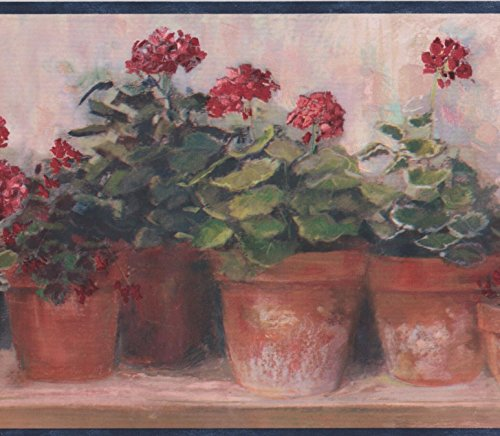 Fiori rossi in vasi su panca beige floreale wallpaper border design retrò, roll 15'x 17,8cm