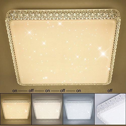 Vingo® 60W LED Deckenleuchte Kristall Starry Sky Starlight Square Decke Beleuchtung Wohnzimmer Decke Lampe Flur Schlafzimmer Belle Mordern Badezimmer leicht ac176V-242V 60w Changement de Couleur Carre