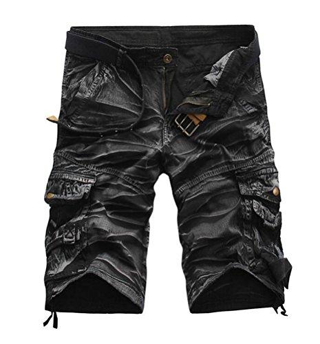 SMITHROAD Herren Cargo Short Chino Shorts 6-Pocket-Style Kurze Hose Freizeithose Camouflage-Schwarz,W32 (Camouflage 6-pocket)