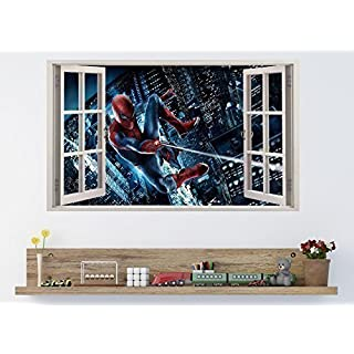 AMAZING SPIDERMAN 3D Window Effect Vinyl Wall Art Sticker **GIANT SIZE** 100 x 60 cm - pw3 by supreme vinyls