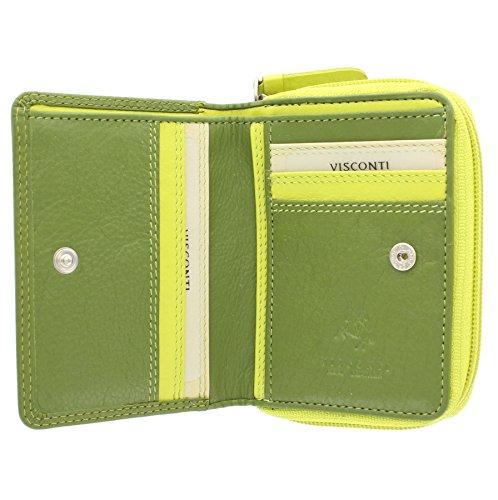 Portafoglio da Donna in Pelle Arcobaleno Visconti RB53 Prugna Multi Verde Multi
