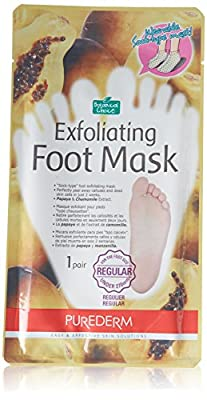 """Purederm Exfoliating Foot Mask Papaya & Chamomile Extract - """"Sock type"""" Foot Exfoliating Mask - Perfectly Peel Away Calluses and Dead Skin Cells in Just 2 Weeks!!! - 1 Pair"""