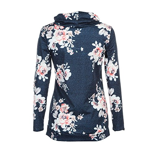 Yalatan Femmes Floral Imprimer Hoodie manches longues Sweat à capuche Pull Outwear Manteau bleu 1