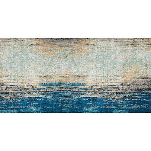 Flooralia - Alfombra Vinilica Vintage- 250x64cm- Azul-Gris