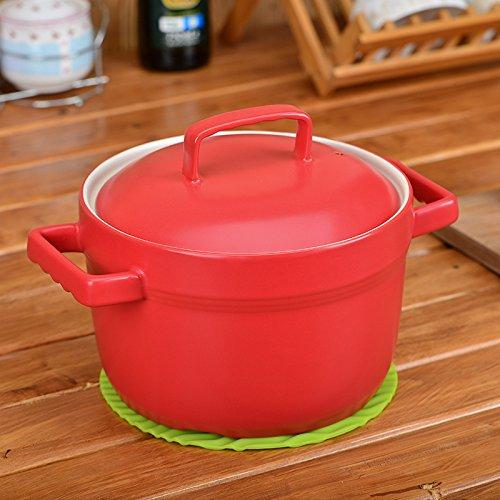MEICHEN Home cucina lusso zuppa in ceramica resistente al calore crock pot noodle dolce piccola casseruola antiaderente colore stufatura pentola , red , 3.2l