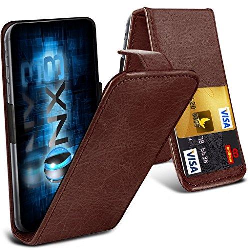 ONX3® (Brown) HTC Desire 700 Fall Universal-Luxuxart Folding PU-Leder Federklemmhalter Top-Schlag- Fall mit 2-Karten-Slot, nach oben und unten Kamera - Desire 700 Handy-fall, Htc