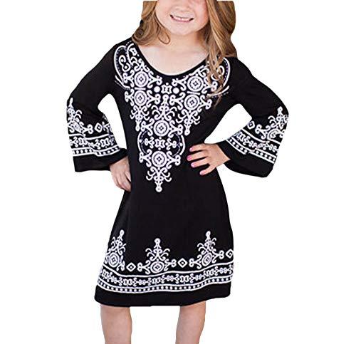 Hellomiko Ethnische Print Kleid Böhmischen Familie Passenden Herbst und Winter Eltern-Kind-Kleid Weibliche Langärmeligen Kleid Schwarzes Kinds